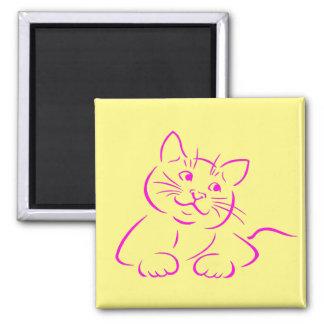 Gato rosado lindo del gatito imán cuadrado