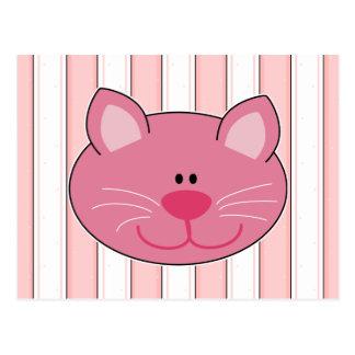 Gato rosado lindo del gatito postal