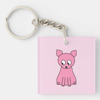 Gato rosado lindo llavero cuadrado acrílico a una cara