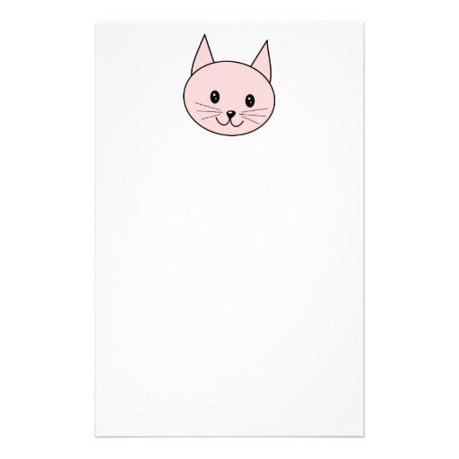 Gato rosado lindo papelería de diseño