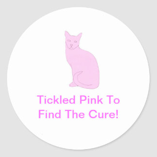 Gato rosado pegatina redonda