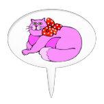 Gato rosado perezoso decoraciones para tartas