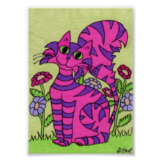 Gato rosado rayado púrpura con mini arte popular póster