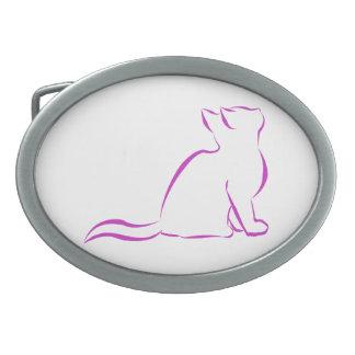 Gato rosado, terraplén blanco hebilla de cinturon oval
