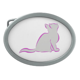 Gato rosado, terraplén gris hebilla de cinturón oval