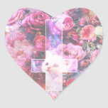 Gato rosado y pegatina en forma de corazón cruzado