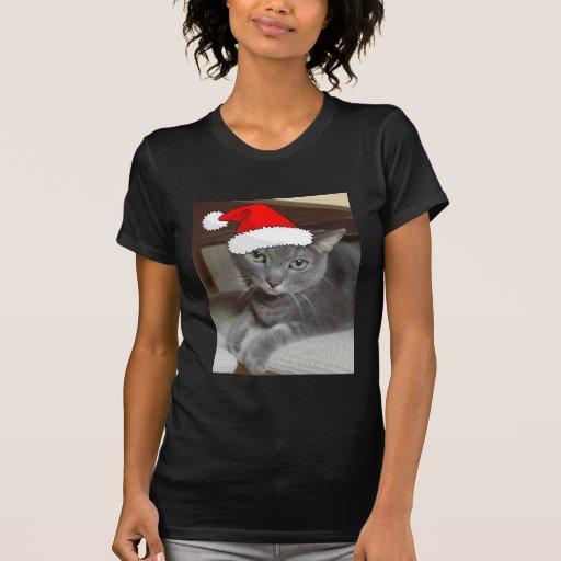 Gato ruso del gris azul del navidad camisetas