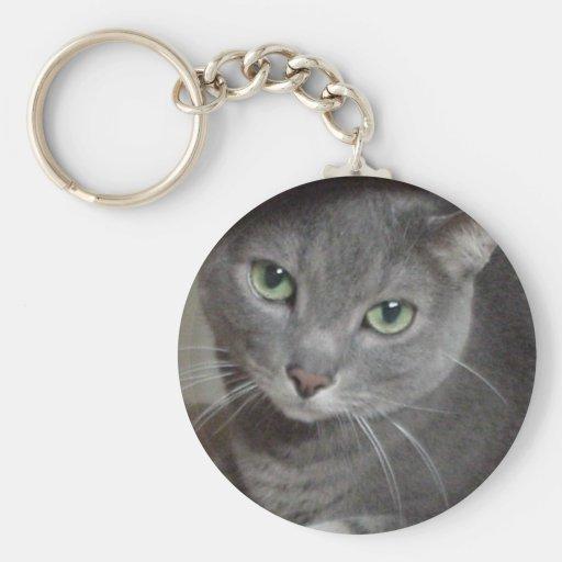 Gato ruso del gris azul llaveros