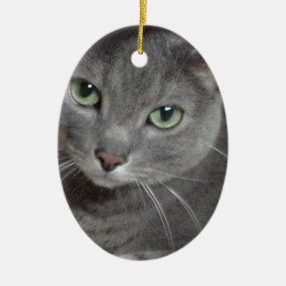 Gato ruso del gris azul ornamento de navidad