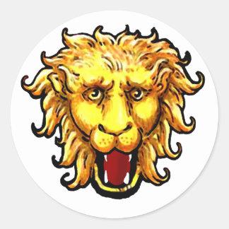 gato salvaje del gran juego del león del ing pegatina redonda