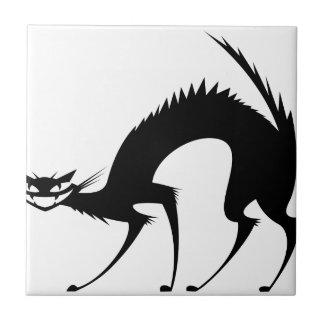 Gato salvaje negro azulejos cerámicos