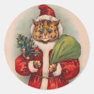 Gato Santa de Louis Wain Pegatina Redonda