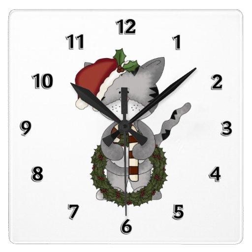 Gato Santa del navidad Reloj Cuadrado