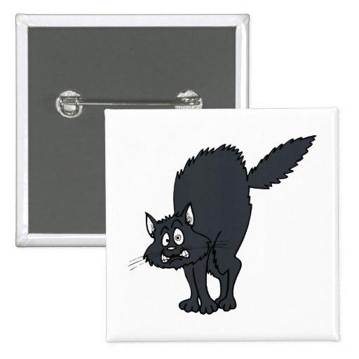 Gato scaredy gris oscuro pin