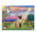 Gato siamés - ángel de la nube postal