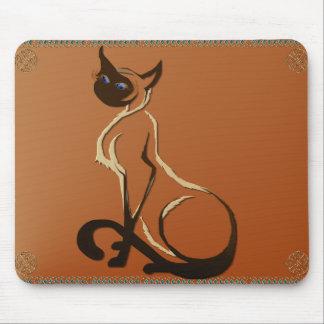 Gato siamés bonito que se sienta Mousepad Tapetes De Ratón
