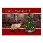 Gato siamés - buenas fiestas tarjeta de felicitaci