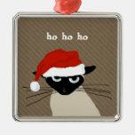 Gato siamés chistoso de Santa con el texto de Adorno Navideño Cuadrado De Metal