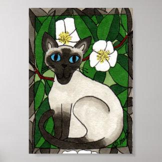 Gato siamés con arte popular de la planta de té póster