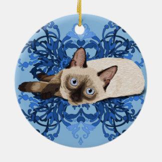 Gato siamés con diseño floral azul adorno navideño redondo de cerámica