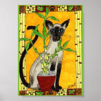 Gato siamés con mini arte popular de la planta de póster