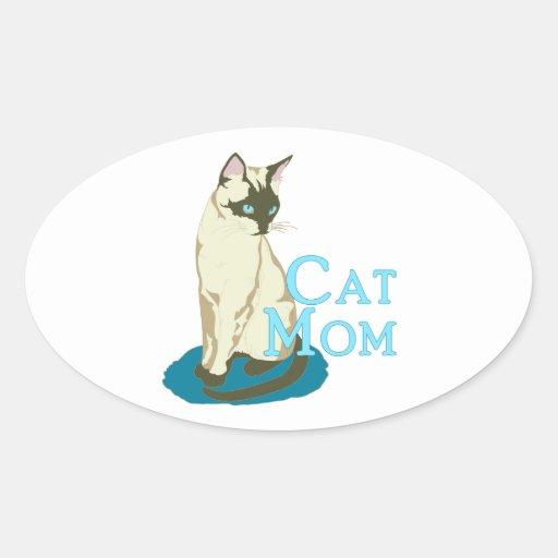 Gato siamés de la mamá del gato pegatina ovalada