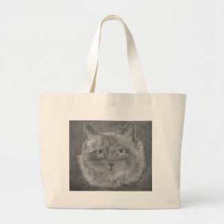 Gato siamés de los ojos hermosos bolsa lienzo