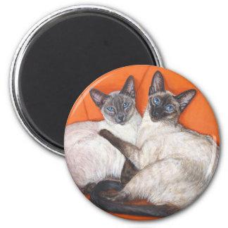 Gato siamés de los pares acogedores imán redondo 5 cm