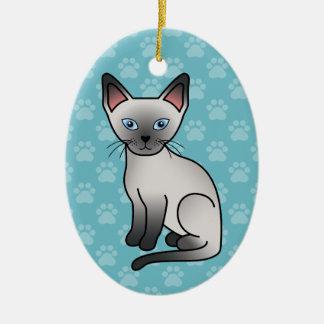 Gato siamés del punto azul ornamento de navidad