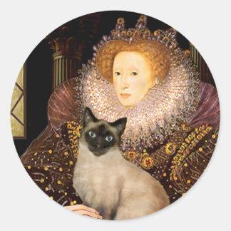Gato siamés del punto del sello de la reina pegatina redonda