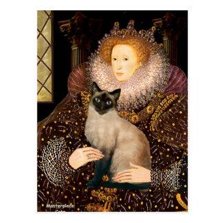 Gato siamés del punto del sello de la reina postales