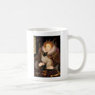 Gato siamés del punto del sello de la reina taza clásica