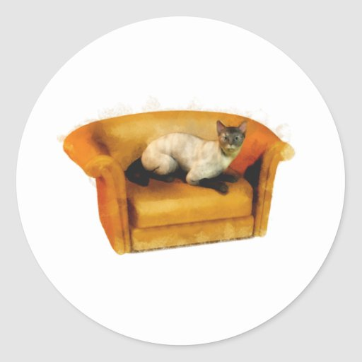 Gato siamés del sofá pegatina redonda