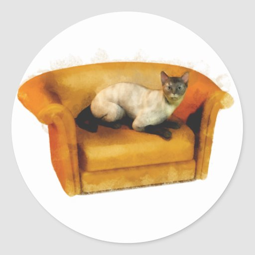 Gato siamés del sofá pegatinas redondas
