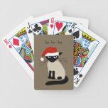 Gato siamés divertido de Santa con el texto de enc Baraja Cartas De Poker