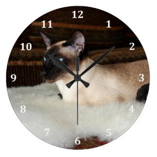 Gato siamés elegante reloj redondo grande