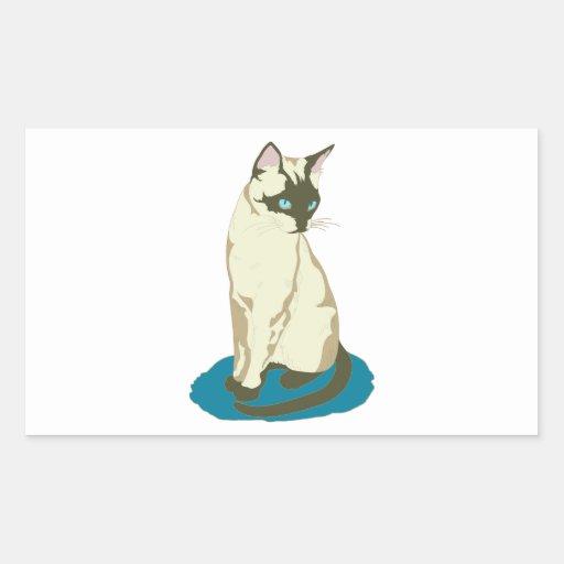 Gato siamés en azul rectangular pegatinas