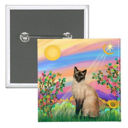 Gato siamés - estrella del día pin cuadrada 5 cm