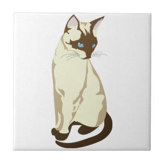 Gato siamés hermoso del gatito azulejo cuadrado pequeño