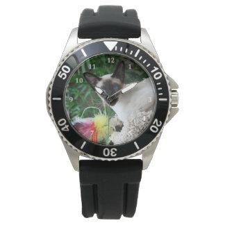 Gato siamés hermoso reloj de mano