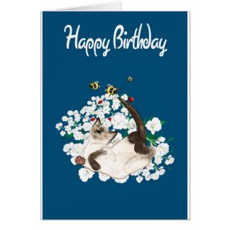 Gato siamés juguetón tarjeta de felicitación