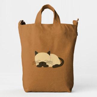 Gato siamés lindo el dormir bolsa de lona duck