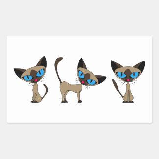 Gato siamés lindo - épocas tres pegatina rectangular