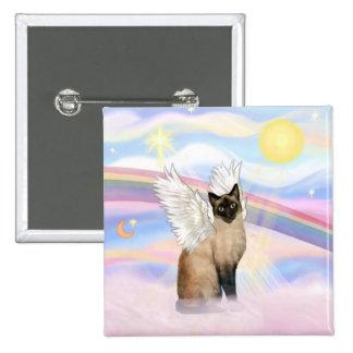 Gato siamés - nubes pin cuadrada 5 cm