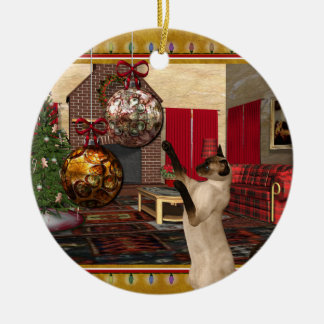 Gato siamés - ornamento redondo del navidad adorno navideño redondo de cerámica