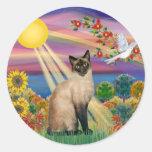 Gato siamés - otoño Sun Etiqueta Redonda