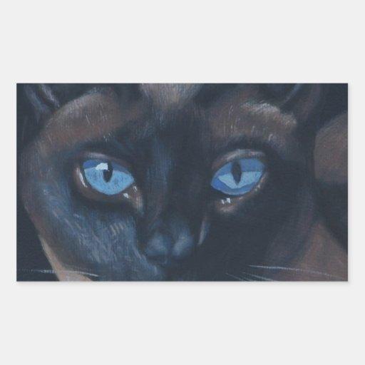 Gato siamés pegatina rectangular