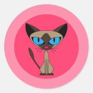 Gato siamés, pegatinas rosados pegatina redonda