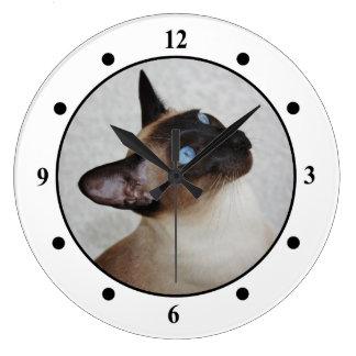Gato siamés que mira para arriba reloj redondo grande