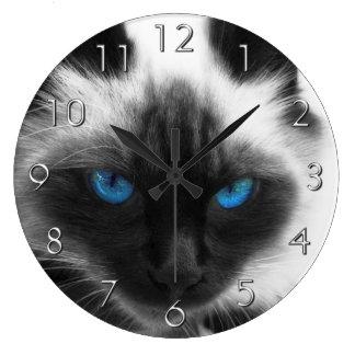 Gato siamés reloj redondo grande